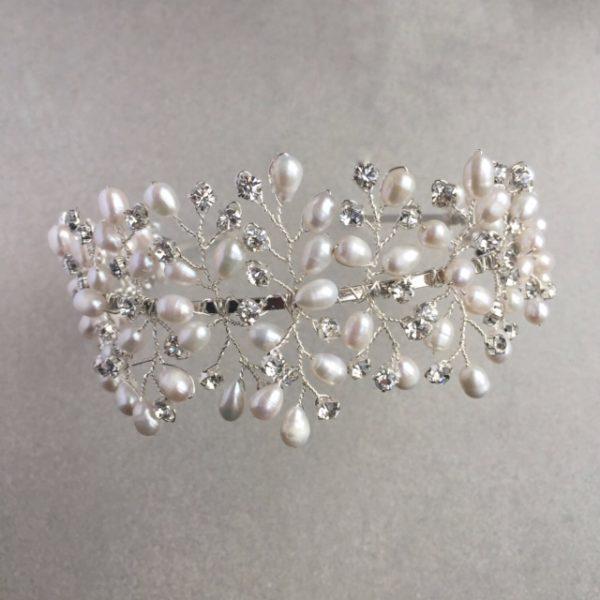 Capella freshwater pearl and diamante tiara