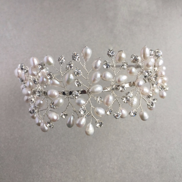 Capella freshwater pearl and diamante tiara