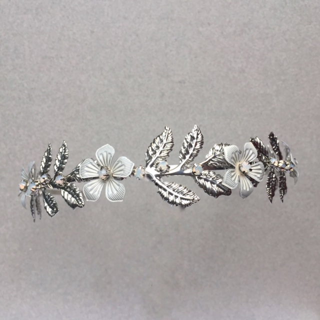 Posy low metal flower bridal tiara