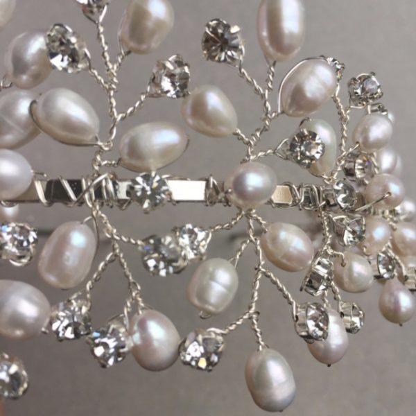 Capella freshwater pearl and diamante large tiara