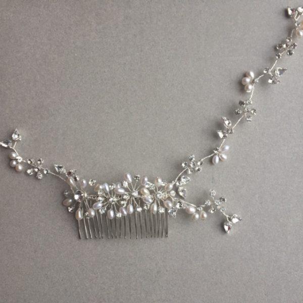Polaris freshwater pearl and diamante hairvine