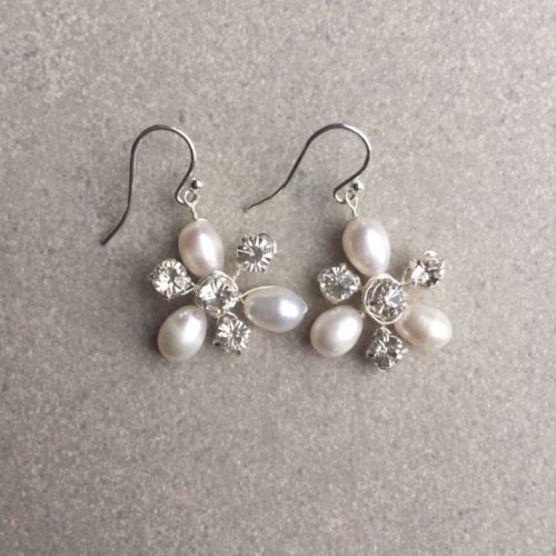 Rigel freshwater pearl and diamante bridal earrings