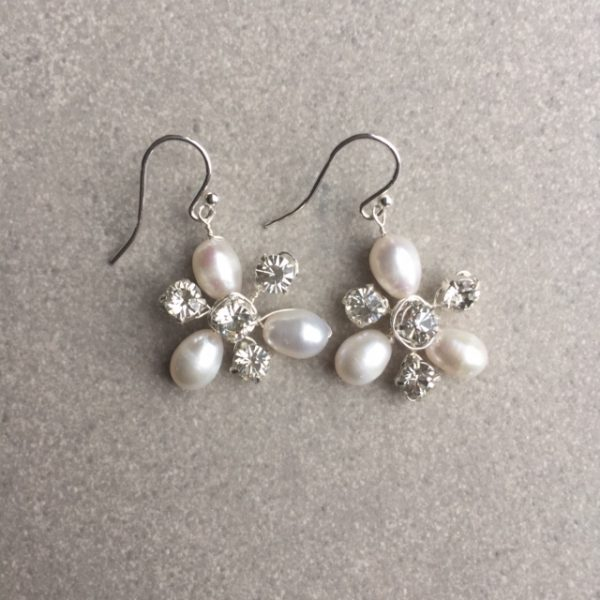 Rigel freshwater pearl and diamante bridal earrings