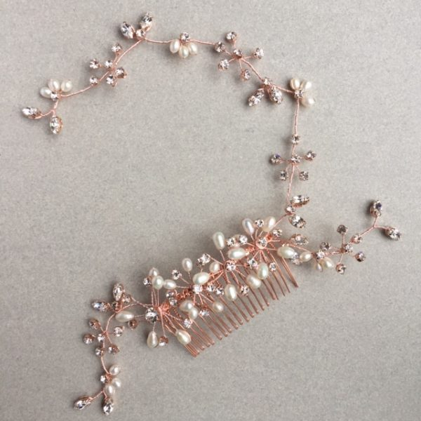 Rose gold freshwater pearl and diamante hair comb