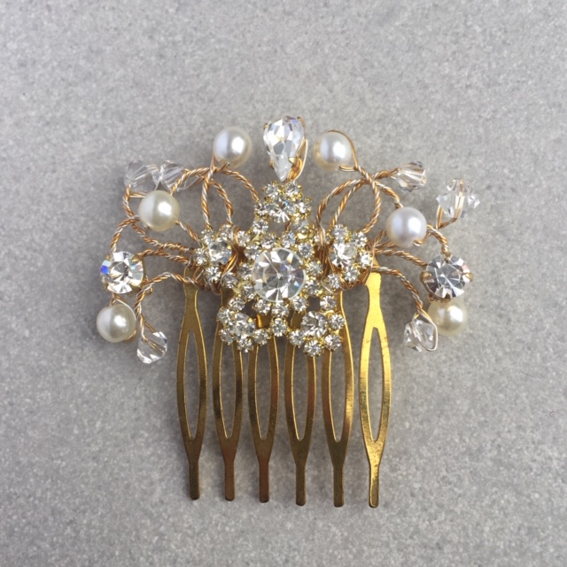 gold diamante and pearl bridal comb