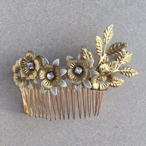 Camelia metal flower comb with diamante detail