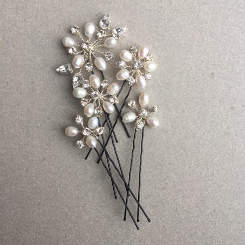 Bridal hair pins freshwater pearl and diamante